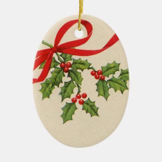 Vintage runde Weihnachtsovalverzierung Ovales Keramik Ornament