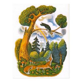 Vintage russische Illustrationen, Äsops Fabeln 10 Postkarte