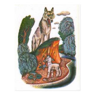 Vintage russische Illustrationen, Äsops Fabeln 11 Postkarte