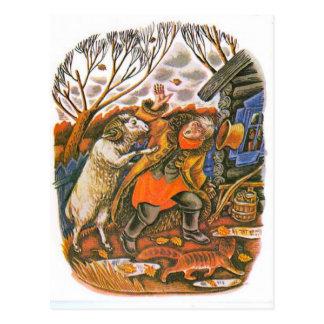 Vintage russische Illustrationen, Äsops Fabeln 9 Postkarte