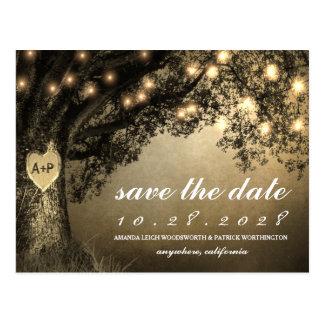 Vintage rustikale geschnitzte Eichen-Baum-Save the Postkarte