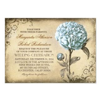 Vintage rustikale Hochzeitseinladung mit blauer 12,7 X 17,8 Cm Einladungskarte