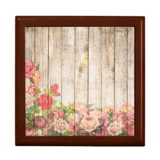 Vintage rustikale romantische Rosen hölzern Geschenkbox