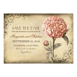 Vintage rustikale Save the Date Karte mit rosa Personalisierte Ankündigung