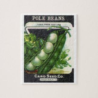 Vintage Samen-Paket-Aufkleber-Kunst, Limabohnen Puzzle