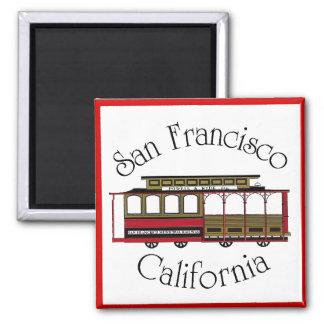 Vintage San Francisco Drahtseilbahn Quadratischer Magnet