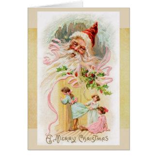 Vintage Sankt auf Weihnachtsmorgen-Karte Karte