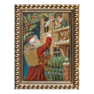 Vintage Sankt, die Geschenke holt Postkarten