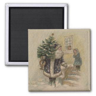 Vintage Sankt im Schnee Quadratischer Magnet