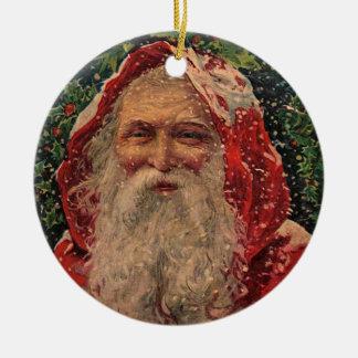 Vintage Sankt im Schnee - Verzierung Rundes Keramik Ornament