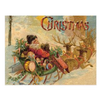Vintage Sankt in seinem Ren Sleigh Postkarte