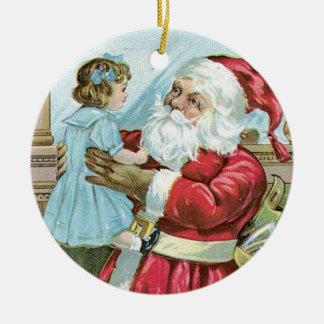 Vintage Sankt mit dem Kind - rund Rundes Keramik Ornament