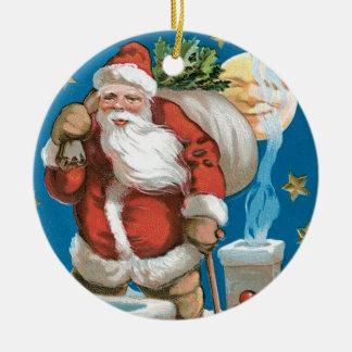 Vintage Sankt mit dem Mond - rund Rundes Keramik Ornament
