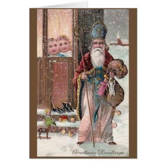 Vintage Sankt- Nikolausweihnachtsgruß-Karte Karte