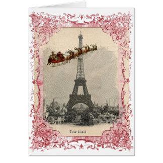Vintage Sankt über Paris-Weihnachtskarte Grußkarte