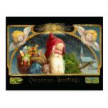 Vintage Sankt- und Engels-Weihnachtspostkarte Postkarten