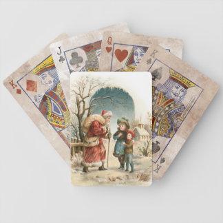 Vintage Sankt und Kinder Poker Karten