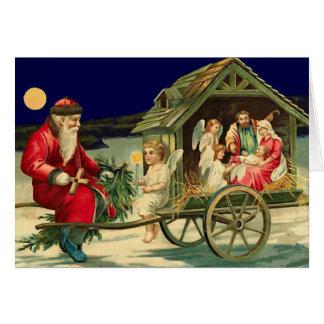 Vintage Sankt- und Nativityszene Karte