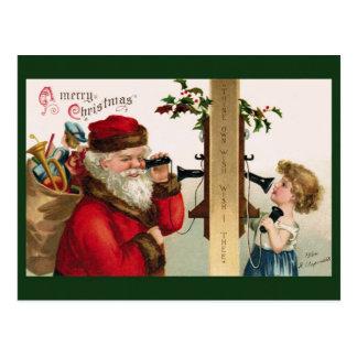 Vintage Sankt- und Telefon-Postkarte Postkarte