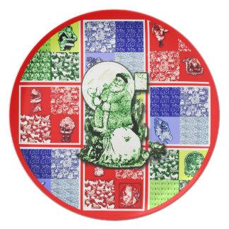 Vintage Sankt-Weihnachtsmelamin-Platte Teller