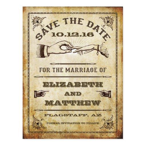 Vintage Save the Date Postkarte