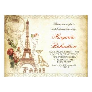 Vintage schäbige Brautpartyeinladungen PARIS Einladungskarte