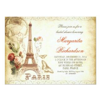 Vintage schäbige Brautpartyeinladungen PARIS 16,5 X 22,2 Cm Einladungskarte