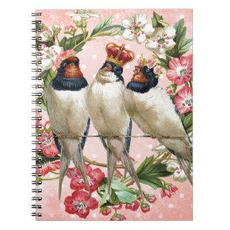 Vintage schäbige Vögel und Blumen Notizblock