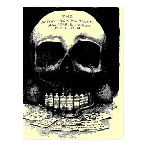 Vintage Schädel-Drogen-Anzeigen-Postkarte