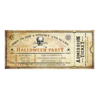 Vintage Schädel-und Knochen-Halloween-Party-Karte 10,2 X 23,5 Cm Einladungskarte