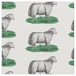 Vintage Schaf-Mutterschaf-Vieh, die C zeichnen Stoff