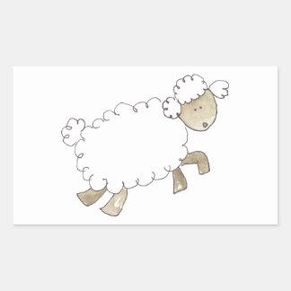 Vintage Schafe durch lustige Vieh Rechteckiger Aufkleber