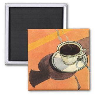 Vintage Schale Kaffee, Saucer, Löffel mit Schatten Quadratischer Magnet