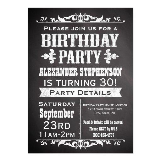 Vintage Schiefer-Tafel-Geburtstags-Party Einladung