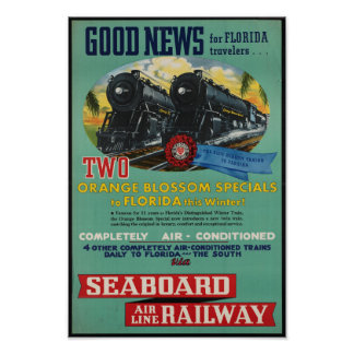 Vintage Schienen-Reise zu Florida-Plakat Poster