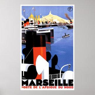 Vintage Schiffs-Anzeige Marseilles Porte De L' Afr Plakate