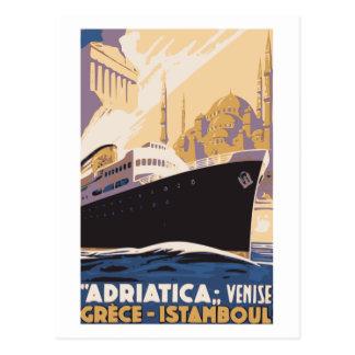 Vintage Schiffslinie Anzeige Venedig, Postkarte