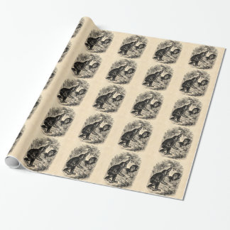 Vintage Schimpansen 1800s Affe-Schimpanse-Schablon Einpackpapier