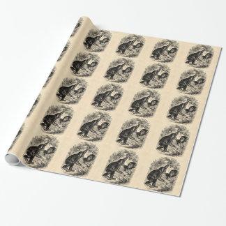 Vintage Schimpansen 1800s Einpackpapier