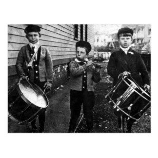 Vintage Schlagzeuger-Jungen-Fotografie Postkarte