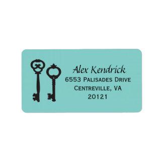 Vintage Schlüssel-Aufkleber - Blau Adressetiketten