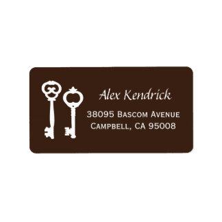Vintage Schlüssel-Aufkleber - Brown Adressetikett