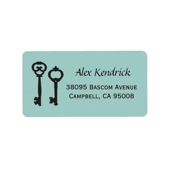 Vintage Schlüssel-Aufkleber - tadelloses Blau Adressetikett