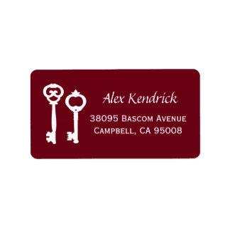 Vintage Schlüssel-Aufkleber - Wein Adressetiketten