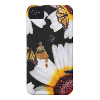 Vintage Schmetterlings-Frauen-Blumen iPhone 4 Etuis