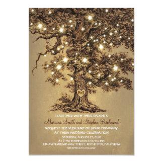 Vintage Schnur beleuchtet Baum-rustikale 12,7 X 17,8 Cm Einladungskarte