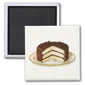 Vintage Schokolade gefror Quadratischer Magnet