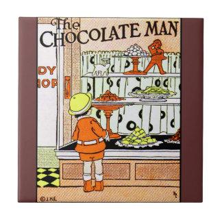 Vintage Schokoladen-Geschäfts-Süßigkeits-Speicher- Kleine Quadratische Fliese