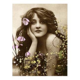 Vintage Schönheit mit Blumen Postkarten