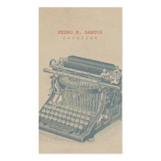Vintage Schreibmaschinen-cooles blaues Retro Visitenkarten Vorlagen